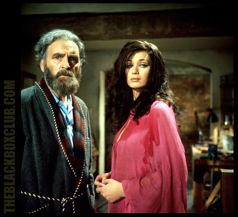 Andrew Keir and Valerie Leon in Hammer Film Productions 'Blood From The Mummy's Tomb' (1971) also starring James Villiers, Hugh Burden and Mark Edwards. Dir: Seth Holt theblackboxlub.com