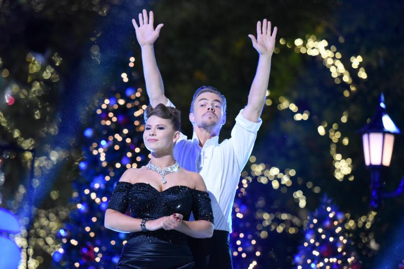 """Bindi Irwin, left, and Derek Hough onstage during the finale of """"Dancing With The Stars"""" held at The Grove on Tuesday, Nov. 24, 2015, in Los Angeles. (Photo by Richard Shotwell/Invision/AP)"""