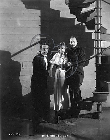 Bela Lugosi, Jacqueline Wells, and Harry Cording in The Black Cat (1934)
